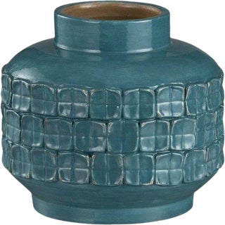 Crate & Barrel Vianni Turquoise Vase For Sale