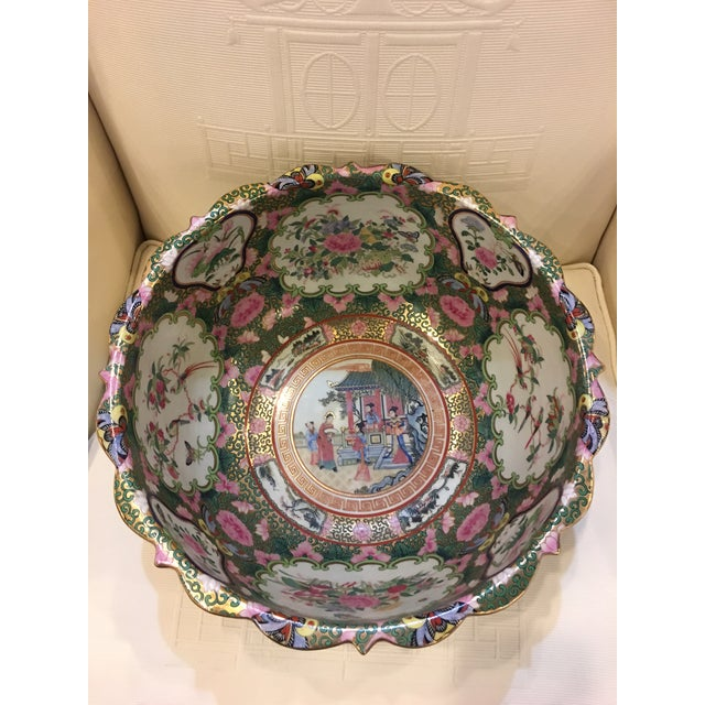 1980s Chinese Canton Style Famille Rose Porcelain Punch Bowl For Sale - Image 5 of 7