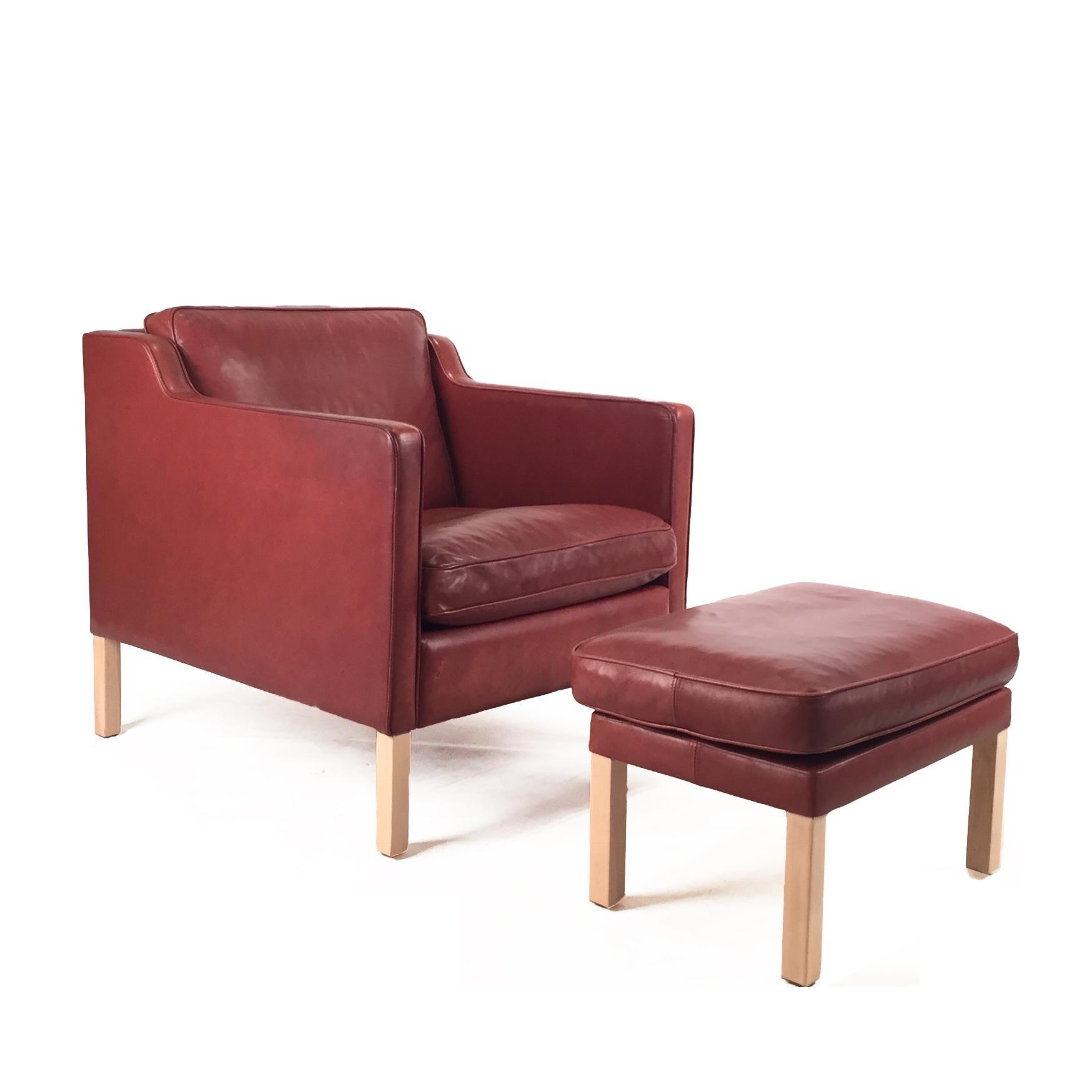 1960s Danish Modern Brown Leather Chair U0026 Ottoman