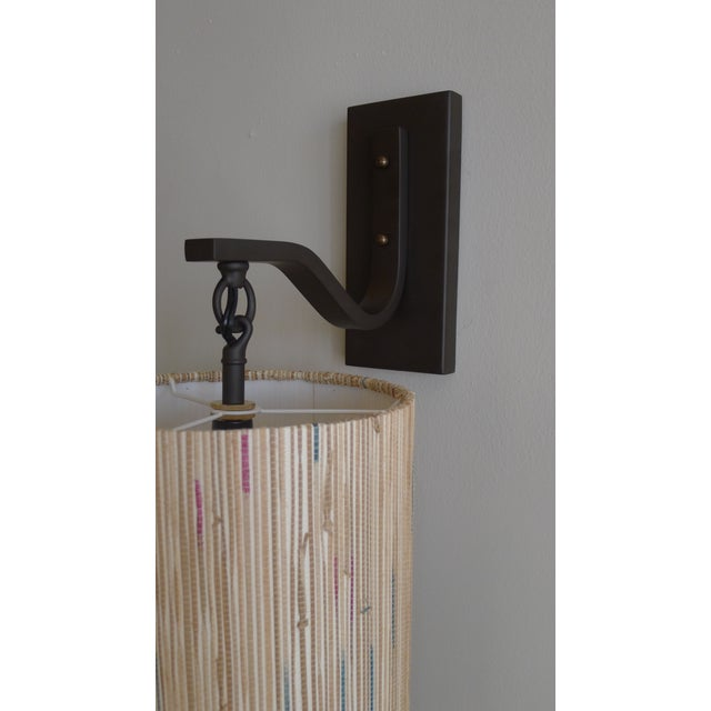 Modern Sconce with Custom Grasscloth Shade - Image 8 of 9