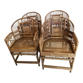 Vintage Brighton Style Bamboo Dining Arm Chairs -Set of 4