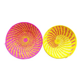 African Hot Pink Yellow Woven Baskets - Set of 2 For Sale