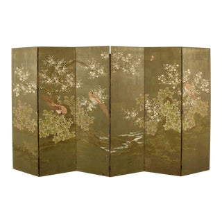 Six Panel Robert Crowder Hand Painted Screen For Sale