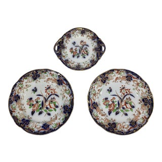 Antique Floral French China Plates - Set of 3 For Sale