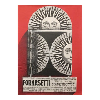 1962 Original Piero Fornasetti Exhibition Poster (red)