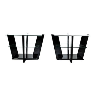 1970s Contemporary Black Acrylic & Glass Tiered Side Tables - a Pair
