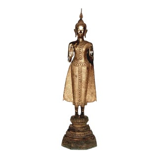 Antique Thai Gilt Bronze Figure of Standing Buddha For Sale