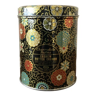 1960s Vintage Boho Cherrydale Farms Candy Tin Canister For Sale