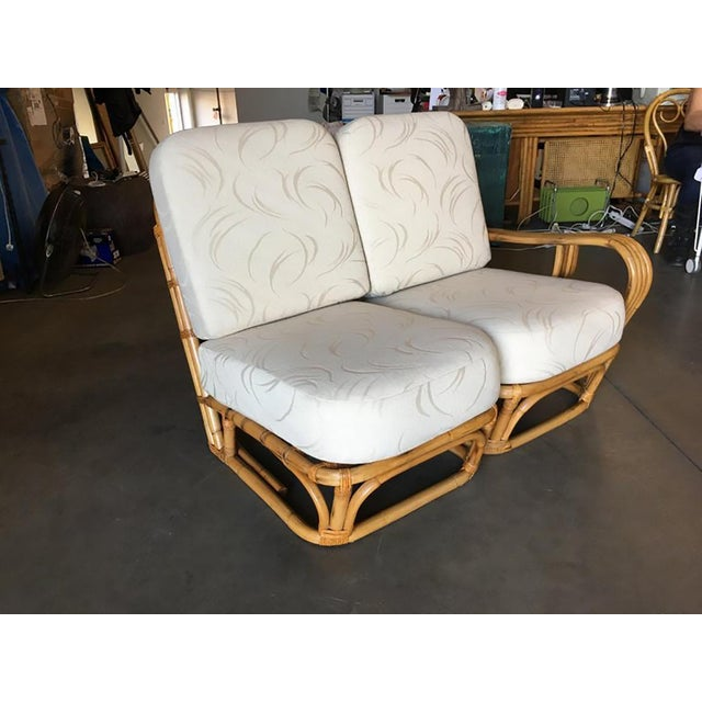 """Mid-Century Modern Rare Paul Frankl Style Square Pretzel """"S"""" Arm Rattan Sofa W/ 2 Tier Table For Sale - Image 3 of 8"""
