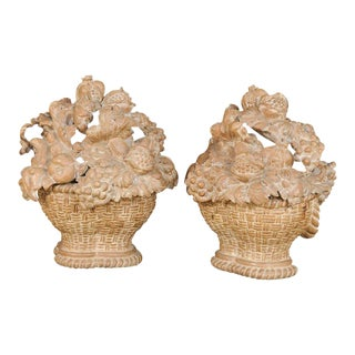 Pair of Italian 1950s Della Robbia Style Carved Wood Decorative Objects