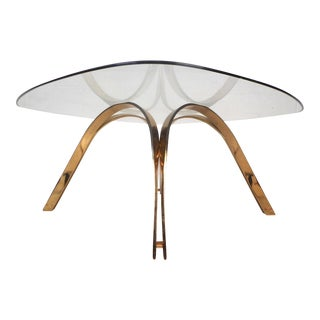 Vintage Modern Brass Coffee Table After Dunbar For Sale