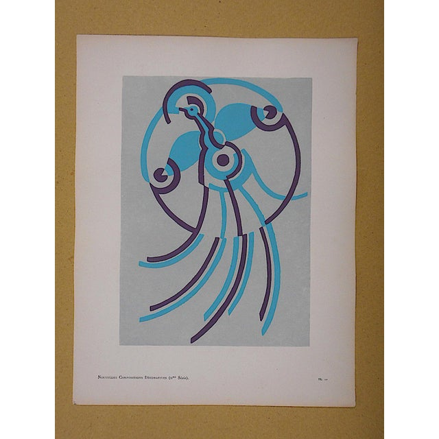 Vintage Serge Gladky Limited Edition Pochoir Print of Abstracted Bird, Circa 1928 - Image 2 of 3