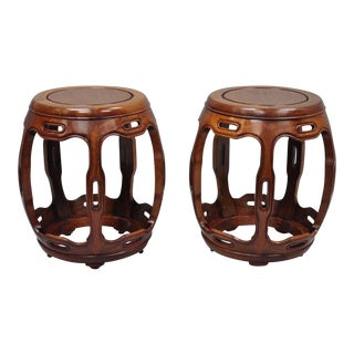 Asian Oriental Hardwood Drum Stool Pedestal Stand Wooden Tables - a Pair