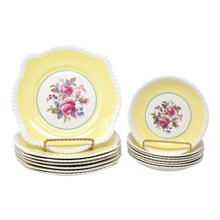 Vintage Johnson Bros Windsor Ware Yellow Floral Salad Plates and Saucers - Set of 14 For Sale