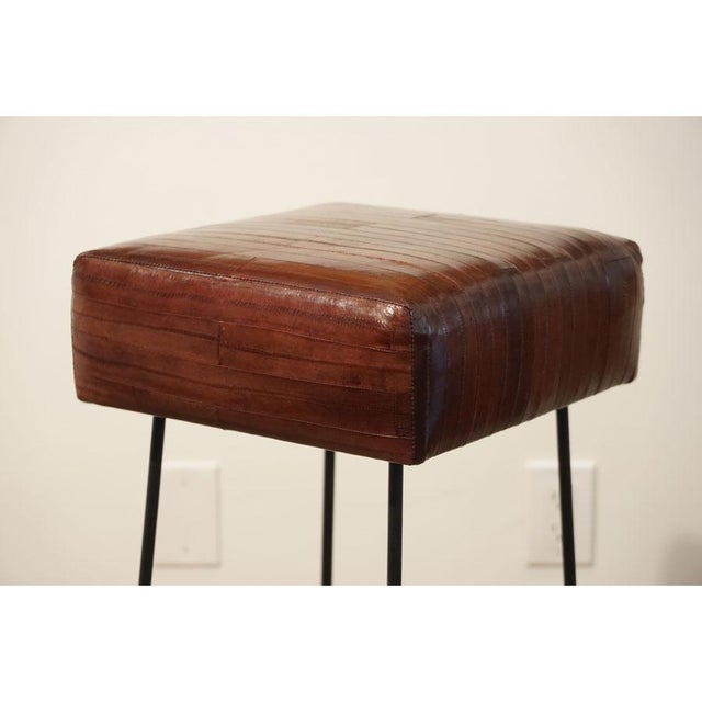 Frederick Weinberg 1970s Frederick Weinberg Eel Skin Stools - a Pair For Sale - Image 4 of 8