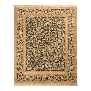 Hand-Knotted Tudor Style Rug Beige Green Classic Floral Pattern by Rug & Kilim For Sale