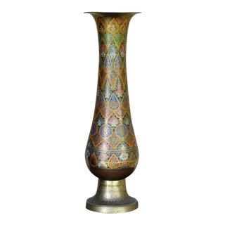 Mid 20th Century Indian Brass Enameled Vase