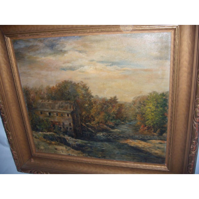 Country Painting of a Country Mill by a Stream For Sale - Image 3 of 8
