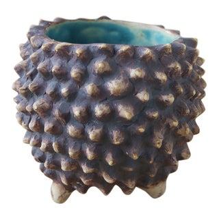 Modern Handmade Textured Ceramic Vase For Sale
