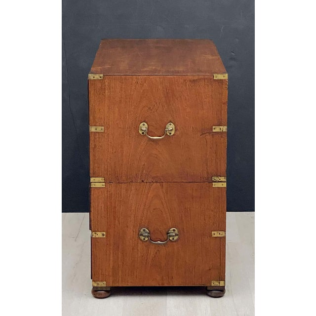 English Officer's Campaign Chest Secretaire of Teak and Brass For Sale - Image 9 of 13