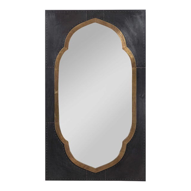 Moroccan Stained Copper and Brass Clad Mirror For Sale