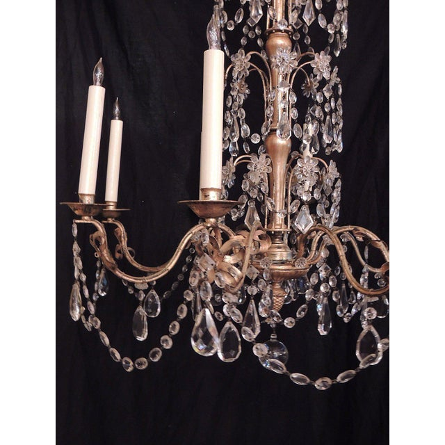 Crystal 20th C French Grand Bagues Tole and Crystal Chandelier For Sale - Image 7 of 10