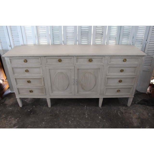 White 20th Century Gustavian Style Distressed Painted Sideboard For Sale - Image 8 of 8