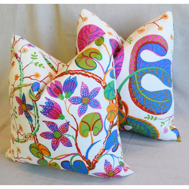 "White Designer Josef Frank ""Teheran"" Floral Linen Feather/Down Pillows 18"" Square - Pair For Sale - Image 8 of 11"
