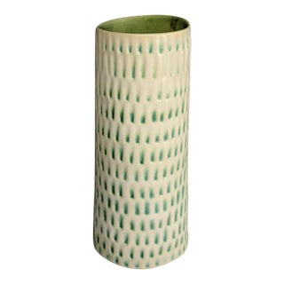 Cream and Teal Green Handmade Ceramic Glazed Vase For Sale