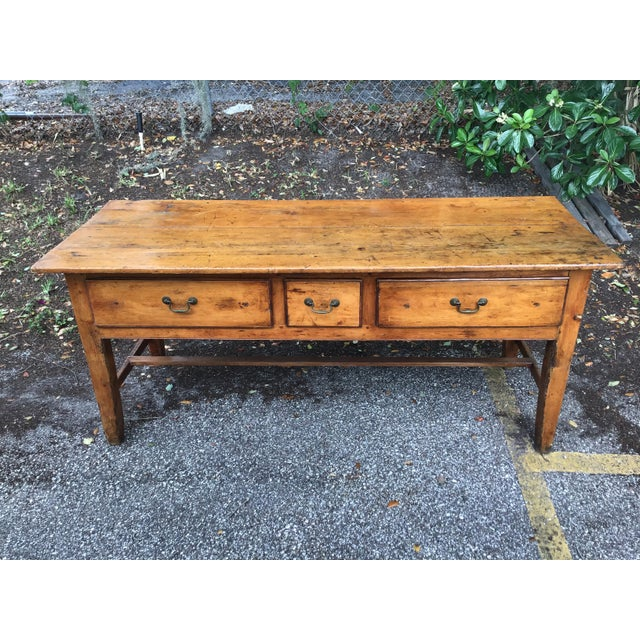 Brown Vintage French Farmhouse Table With Three Drawers For Sale - Image 8 of 10
