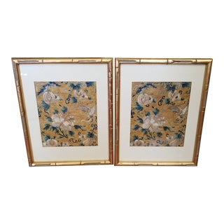Pair of Antique Chinese Needlework Panels For Sale