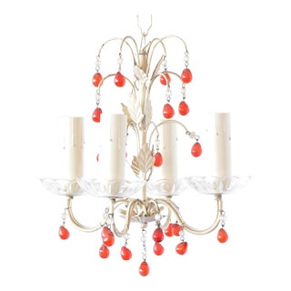 Small Iron Chandelier W/Red Beads For Sale