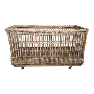Large Industrial Belgian Rattan Cart on Casters, circa 1920 For Sale