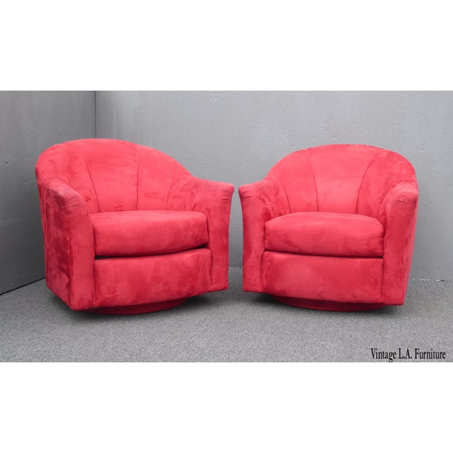 1970s Mid Century Modern Milo Baughman Style Red Swivel Chairs - a Pair For Sale - Image 13 of 13