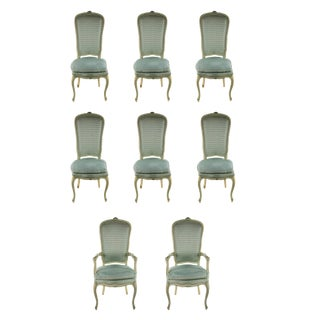 Late 19th Century French Louis XV Style Blue Upholstered Dining Chairs - Set of 8 For Sale