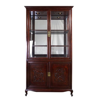 Antique Chinese Carved Rosewood Display/Curio Cabinet For Sale