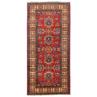 Contemporary Pak Kazak Lamb's Wool Rug - 2′2″ × 4′7″ For Sale