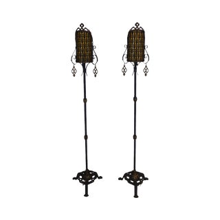 Pair Cast Iron and Gilt Spanish-Morrocan Revival Floor Lamps in the Manner of Oscar Back For Sale