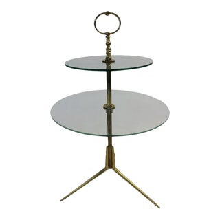 Midcentury Glass and Brass Tripod Table Attributed to Pietro Chiesa For Sale