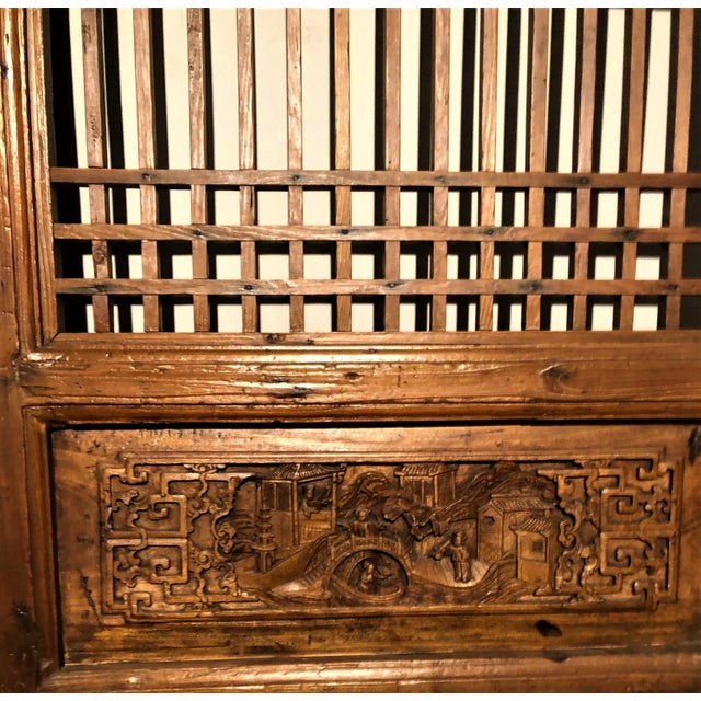 Traditional Carved Chinese Doors - A Pair For Sale - Image 3 of 4