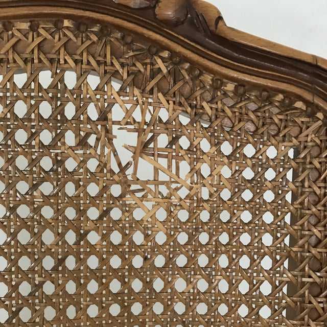 Classic Antique Set of 6 Louis XV Carved Walnut & Caned Dining Chairs For Sale - Image 11 of 13