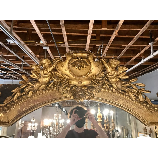 French Napoleon III Parcel Gilt Over Mantel Mirror For Sale - Image 3 of 6