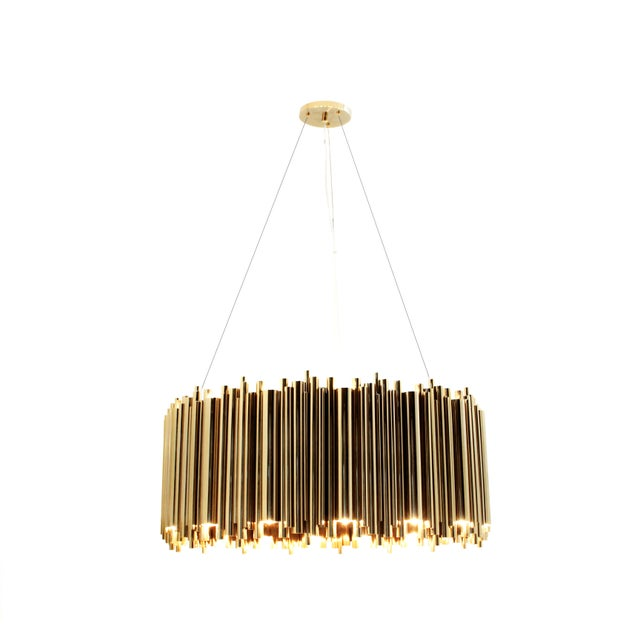 Brass Brubeck Oval Chandelier From Covet Paris For Sale - Image 7 of 11