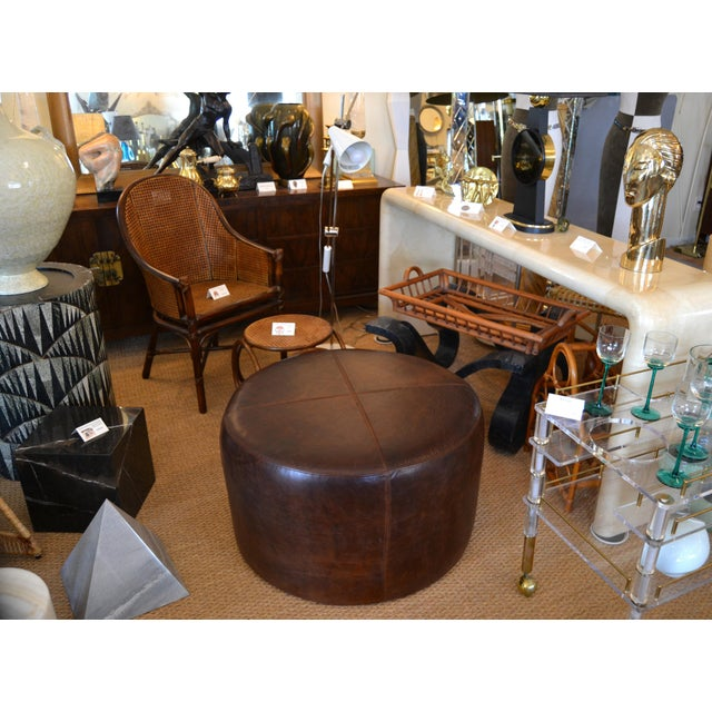 Modern Round Hand-Crafted Leather Ottoman, Pouf in Antique Leather, Contemporary For Sale - Image 12 of 13