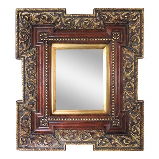 Ornate 'Deep Framed' Rectangular Red & Gold Wall Mirror For Sale