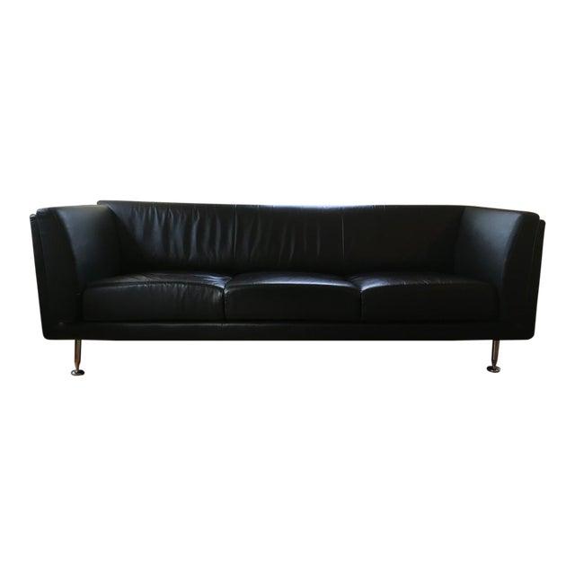Mid-Century Modern Replica Goetz Black Leather Sofa - Image 1 of 11