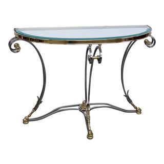 Directoire Style Glass Top Demi-Lune Console Table For Sale