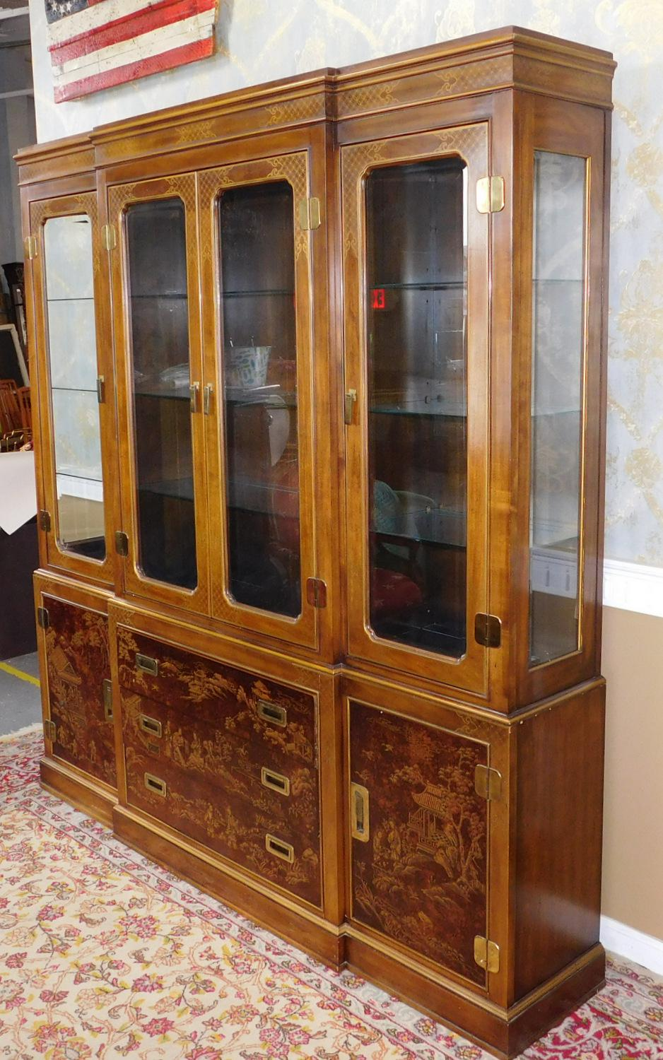 Drexel Heritage Asian Campaign Style Dynasty Collection Walnut Dining Room  China Cabinet   Image 2 Of
