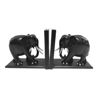 Hand-Carved Large Ebonized African Elephant Bookends, Circa 1950