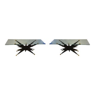 Pair of Italian Brutalist Starburst Gold Ball Resin Console Tables For Sale